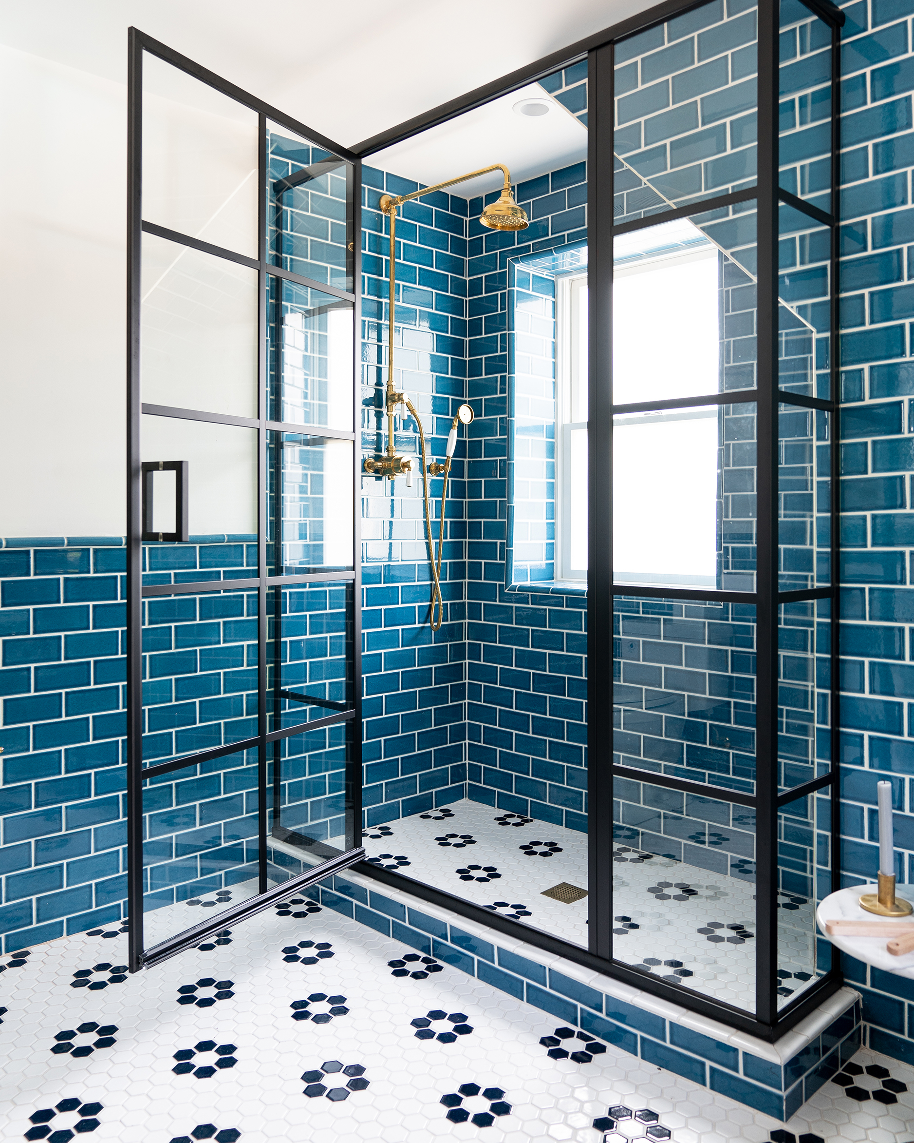 blue subway tile bathroom